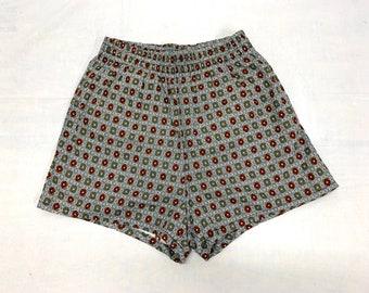 1950s Surfer Swimsuit Boxer Short Shorts Swim Trunks size 38 Medium drawstring beach beatnik patterned
