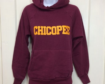 1970s Chicopee pullover hoodie sweatshirt size small, looks XS soft acrylic cotton blend burgundy red yellow print College House made in USA
