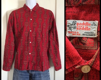 1950s Paddle and Saddle Owl face wing patterned cotton shirt size Large Dark Red novelty shirt Ivy League