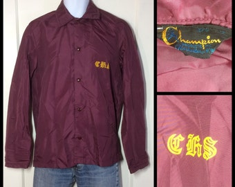 1960's Champion Running Man Label Tag printed Nylon snap Windbreaker Jacket looks size Large C.H.S. burgundy CHS