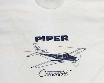 deadstock 1980s Piper Comanche vintage airplane t-shirt size XL 22x29 pilot aircraft thin white tee Screen Stars made in USA NOS