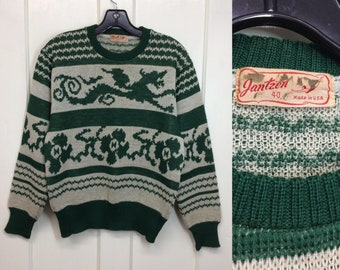 1940s 1950s Jantzen wool novelty sweater dragon flowers stripes size 40 green off white intarsia knit pullover rockabilly swing magic animal