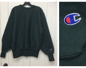 1990s dark green Champion Reverse Weave pullover sweatshirt size large solid blank soft