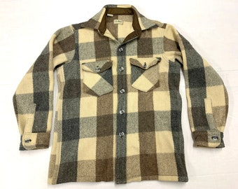1980s LL Bean heavy wool shirt 2 pockets tag size M, looks small tan brown gray made in USA