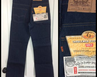 Deadstock Vintage Levis Dark wash Orange Tab 517 31X31 Boot Cut Hard Denim Flare Blue Jeans made in USA NWT NOS #297