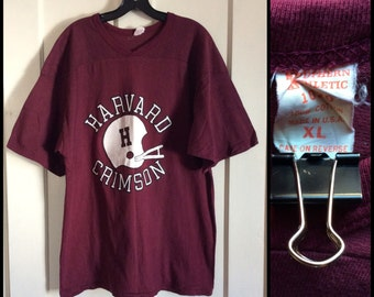 1970s Harvard Crimson football team jersey t-shirt size XL Southern Athletic 1020 made in USA single stitch