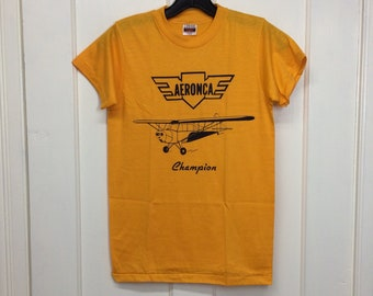 deadstock 1980s Aeronca Champion small vintage airplane t-shirt size youth 14-16 15x23 pilot aircraft yellow thin Hanes made in USA NOS