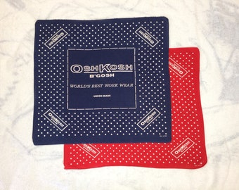 pick one 1950s 1960s Osh Kosh B'Gosh Union Made bandana 21.5x19 blue or red hemmed cotton selvedge polka dot promo advertising #159-160