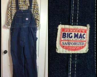 1940's Indigo Blue Denim Penney's Big Mac Overalls 41x30 Union Made in USA Sanforized Donut Hole Buttons