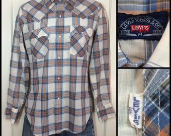 1970's Levi's big E Blue Orange Plaid cowboy snap Shirt size Medium White Tab light weight permanent press