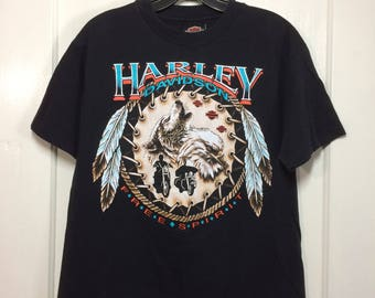 1990s 1991 Harley Davidson Motorcycle black cotton t-shirt size Medium 19x26 Eagle feathers Native American Indian Wolf Rossiters Florida