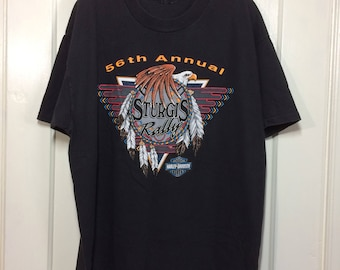 1990's 56th Annual Sturgis Motorcycle Rally Festival black cotton T-shirt looks size Large 22x28 American Indian dream catcher wolf eagle