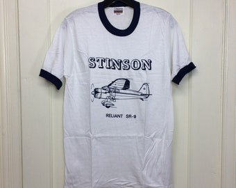 deadstock 1980s Stinson Reliant SR-9 vintage airplane t-shirt size medium 17x26 pilot aircraft thin white blue ringer Hanes made in USA NOS