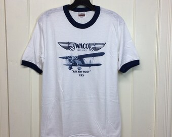 deadstock 1980s Waco YKS vintage aircraft airplane biplane t-shirt size medium 18x26 pilot aviator white ringer tee Hanes made in USA NOS