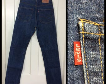 1970s Vintage Levi's 505 dark wash denim 33X36 measures, 32x35.5 tall straight leg blue jeans Talon zipper black bar stitch made in USA #339