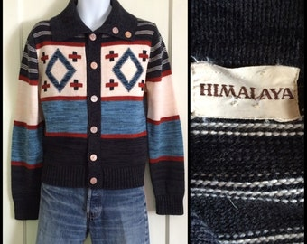 1970s Navajo Cardigan sweater size Medium Heather Blue Tan Rust Black Striped Abstract
