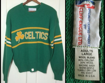 deadstock 1980s Boston Celtics Basketball Pro Sports Team pullover sweater striped sleeves Kelly Green NWT NOS Cliff Engle made in USA