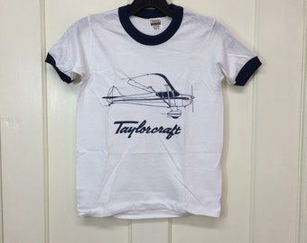 kids deadstock Taylorcraft vintage airplane t-shirt youth boys girls size medium 14x20 pilot aircraft ringer tee Hanes made in USA NOS