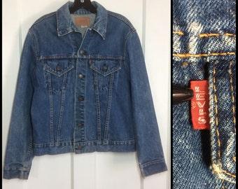 distressed 1960's LEVI'S Big E faded Indigo Blue Single Stitch 2 Pocket patina Denim Jean Jacket looks size Medium Slim Fit #1909