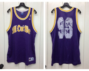 1990s All Out War metalcore thrash metal rock band number 98 basketball jersey Champion brand tank size 48 XL purple yellow