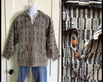 1980's Black and White Hand Woven Wool Blanket Pullover looks size XL