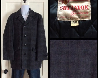 Men's Vintage 1950's Mohair Shadow Plaid Overcoat Gray Turquoise Coat size 40 soft