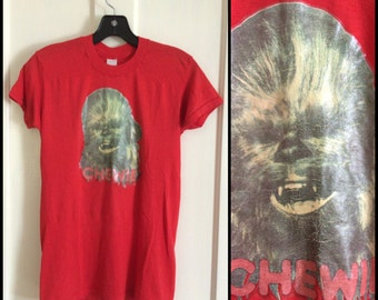 1970s Vintage Star Wars Chewbacca Chewie! T-shirt size Medium looks XS 16x25 Glitter Iron On heat transfer print Red shirt single stitch
