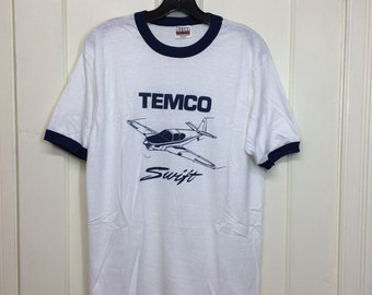 deadstock 1980s Temco Swift vintage aircraft small airplane t-shirt size large 19.5x26.5 pilot ringer tee Hanes made in USA NOS