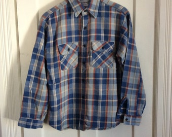 Vintage 1970's Men's 5 Brother Heavy Plaid work Shirt size Large Blue Gold Gray Red