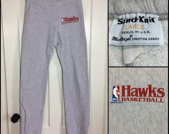 1980s Atlanta Hawks NBA Basketball team reverse weave thick cotton athletic gym sweatpants size large tall heather gray Sand-Knit MacGregor