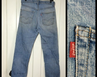1970s Levi's 505 Straight Leg denim Blue Jeans 31x30, measures 31x29 single stitch faded patina made in USA distressed paint boyfriend #1254