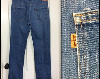 1970s Levi's 519 orange tab straight leg blue Jeans 36x34, measures 35x34 Talon zipper made in USA Boyfriend jeans #340