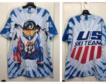 1990s 1994 US Olympic Ski Team tie dyed all over print t-shirt size XL 22x30 cotton single stitch tee made in USA