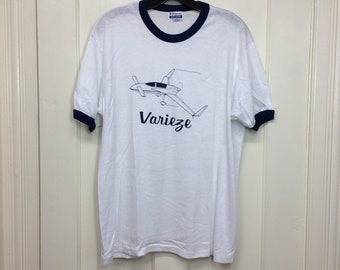 deadstock 1980s Varieze aircraft small airplane t-shirt size large 19x26.5 pilot thin white blue ringer tee Hanes NOS