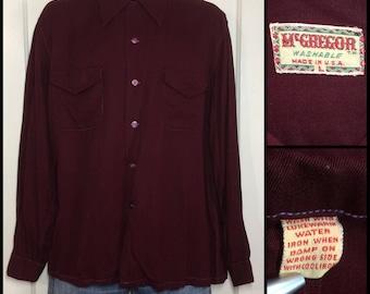 1940s McGregor dark burgundy red gabardine loop collar shirt size large flap pockets dyed shell buttons Rockabilly Swing