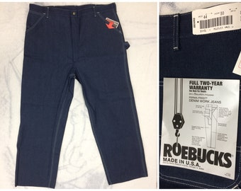 1980s deadstock Sears Roebuck denim carpenter painters pants jeans size 44x30 Union made in USA NOS workwear