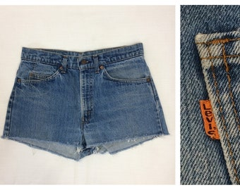 1980s faded Levi's orange tab cut-offs short shorts measures 31 inch waist skate punk grunge hippie boho jeans Daisy Dukes made in USA