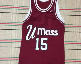 1990s signed Lou Roe Umass Minutemen #15 basketball jersey Champion brand looks size XS made in USA tank top