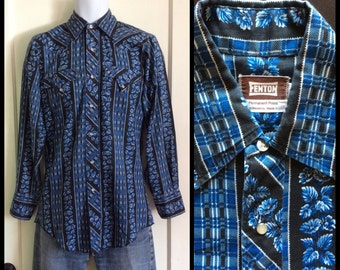 Vintage 1970's Western Shirt Blue Black Striped Rococo Floral Plaid Patterned size Small 14.5 / 32