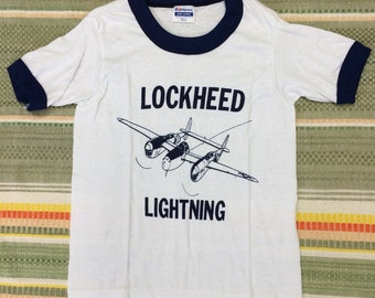 kids deadstock Lockheed Lightning airplane t-shirt youth girls boys size small 12x16 USAAC ww2 military aircraft ringer tee made in usa nos