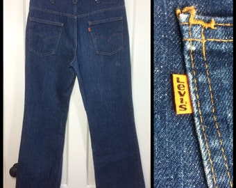 Vintage Levi's Dark wash Blue 517 36X30 Boot Cut Denim Flare Jeans made in USA Orange Tab #267