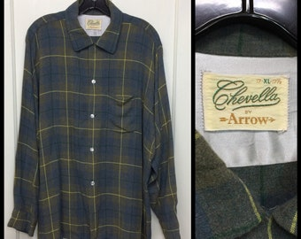 Vintage 1950s 1960s Chevella by Arrow rayon loop shirt size XL 17-17.5 grayish blue olive green yellow plaid rockabilly grunge