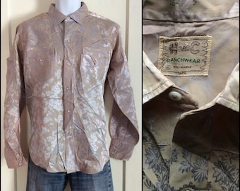 1950's Vintage Floral Patterned Silver Satin Cowboy Western Shirt looks size Large HBarC Ranchwear