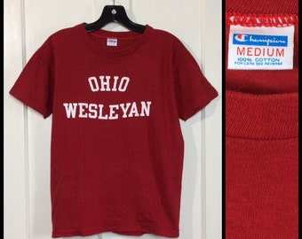 1970s Champion blue bar all cotton Ohio Wesleyan University t-shirt size medium looks small 18x22 red white college school