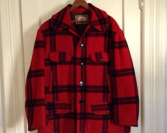 1950s Carter's Plaid Wool Hunting Jacket Coat size 42 Large Red Black Excellent Condition