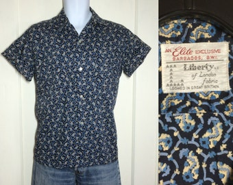 Vintage 1950s Abstract Blue Paisley Patterned Print Loop Shirt Short Sleeve looks size Large Liberty of London Leisure