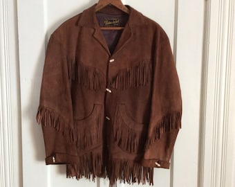 1950s Hand Made Soft Suede Deerskin Fringe Ranch Jacket size 36 by Adelina