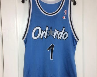 1990's Penny Hardaway number 1 Orlando Magic NBA Basketball team blue Champion brand Jersey Tank size 44 made in USA