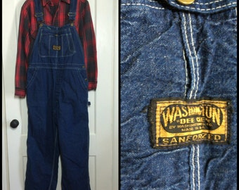 Vintage Washington Dee Cee Sanforized Denim Carpenter Overalls size 36x28 made in USA
