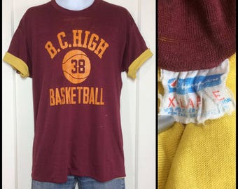 distressed 1970s Champion brand Reversible double t-shirt size XL 20x27 maroon yellow blue bar tag BC High School Basketball worn thin